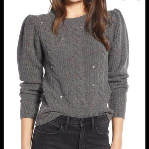 Something Navy Gray Cable Knit Deco Sweater Small